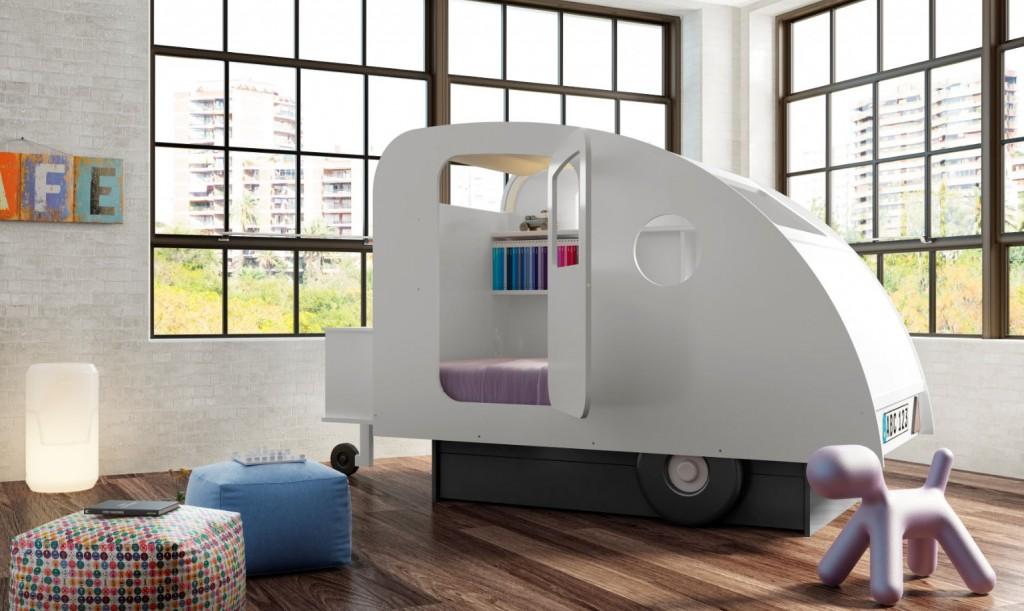 childrens caravan bed in white