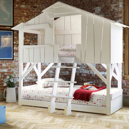 White childrens play bed