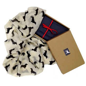 dog print cashmere scarf