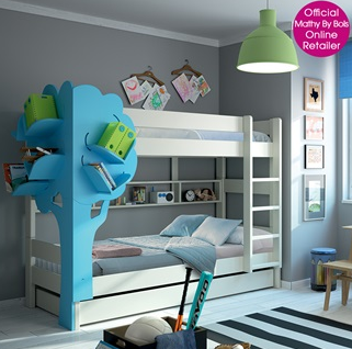 Dominique Triple Bunk Bed with Tree Bookcase.