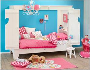 woood cupboard bed in white for girls