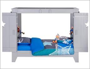woood cupboard bed in grey