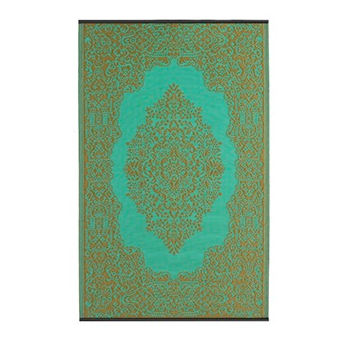Fab Habitat Outdoor Rug In Bronze & Aqua