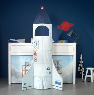 luxury kids rocket ship bed
