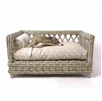 Rattan Dog Bed With Dotty Taupe Mattress