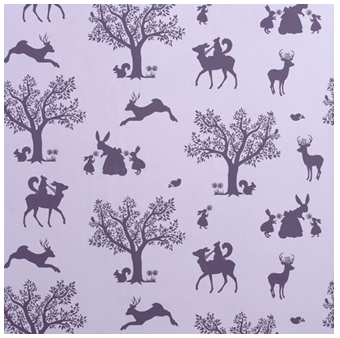 Aubergine on soft Lilac Woodland Wallpaper