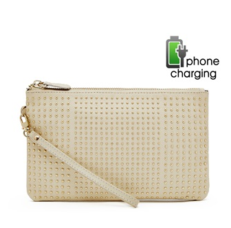 Cream purse with usb charger