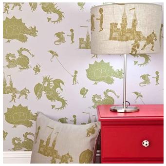 Designer Kids Wallpaper in Dragon Design