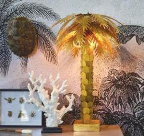 Palm Tree Solid Brass Table Lamp
