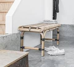 scandi-style rattan bench