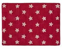 Kids Washable Rug In Pink Star Design