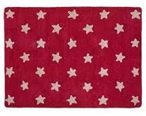 Kids Washable Rug In Pink Star Design