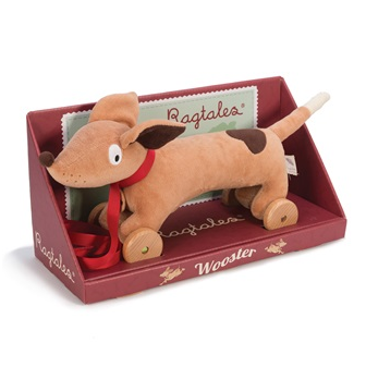 Ragtales pull along toy in Dachshund design