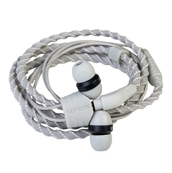 Wraps Classic Wristband Headphones with Microphone in Silve