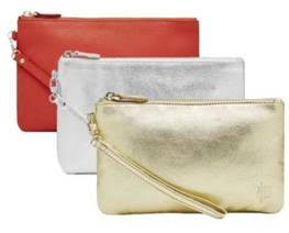 call that glitters wristlet in coral, metallic sliver and gold