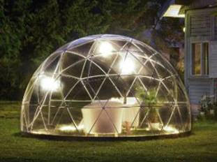 garden igloo night