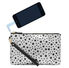 stellar cellular wristlet in sliver and black stars