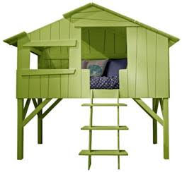 kids tree house single bed in green