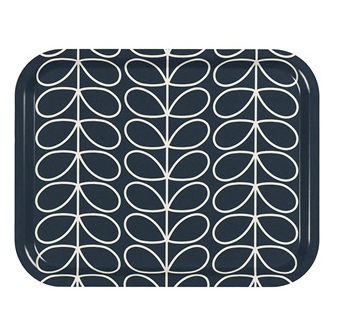 Linear Stem Slate Grey Print tray by Orla Kiely