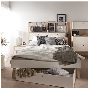 Vox designer bed with cabinet headboard