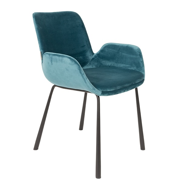 Zuiver-Velvet-Look-Upholstered-Chair-in-Petrol